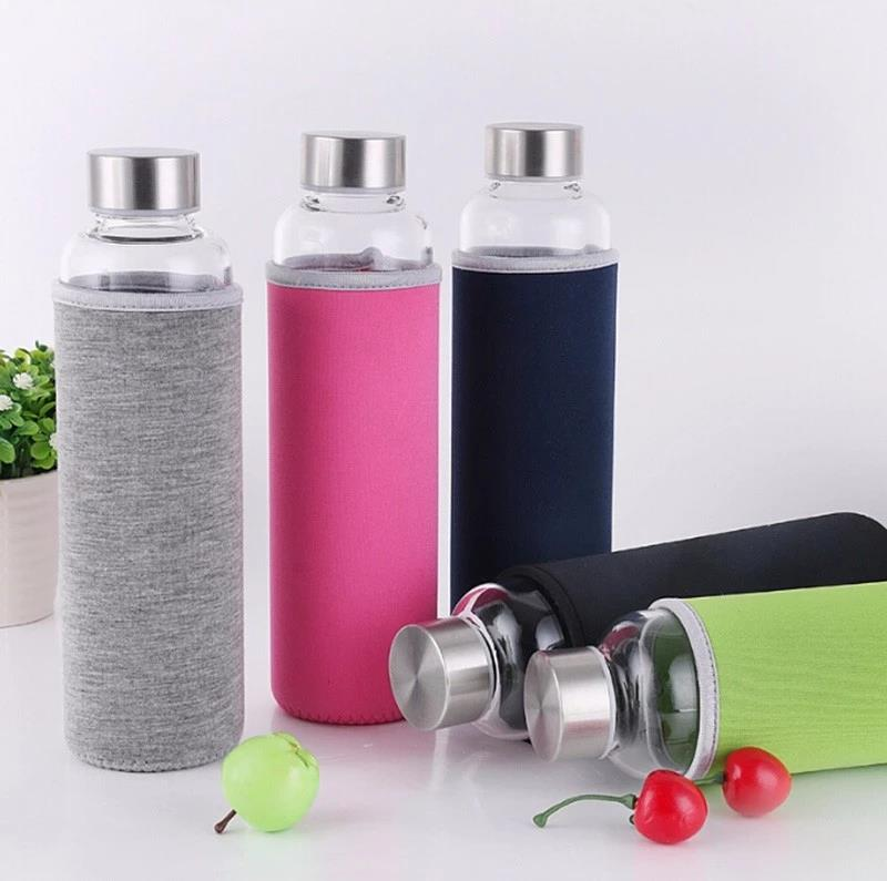 Borosilicate 20-oz Glass Water Bottle with Silicone Sleeve