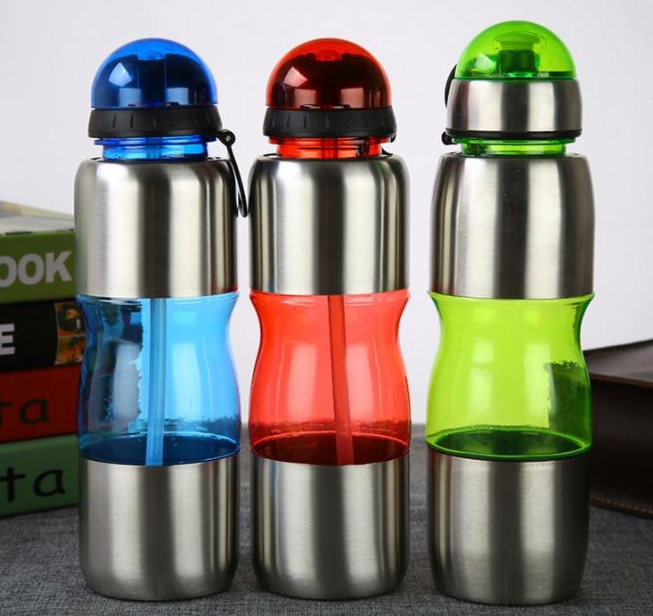 BPA Free Sport Plastic Water Bottle With Straw