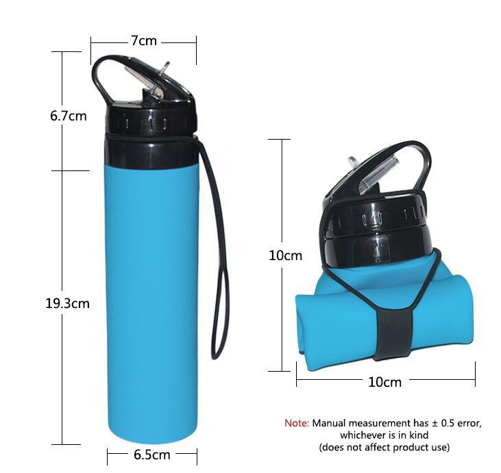 600ML Silicone Foldable Water Bottle Collapsible sports Bottle