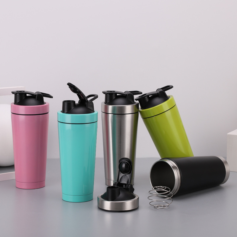 Custom made blender shaker Double walled Stainless steel Protein crystal water bottle