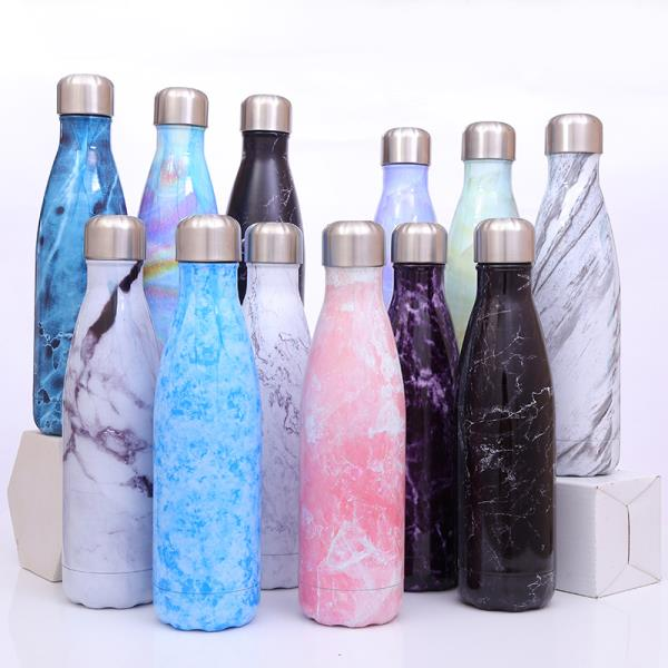 500 ml cola bottle shape insulated stainless steel water bottle with pattern