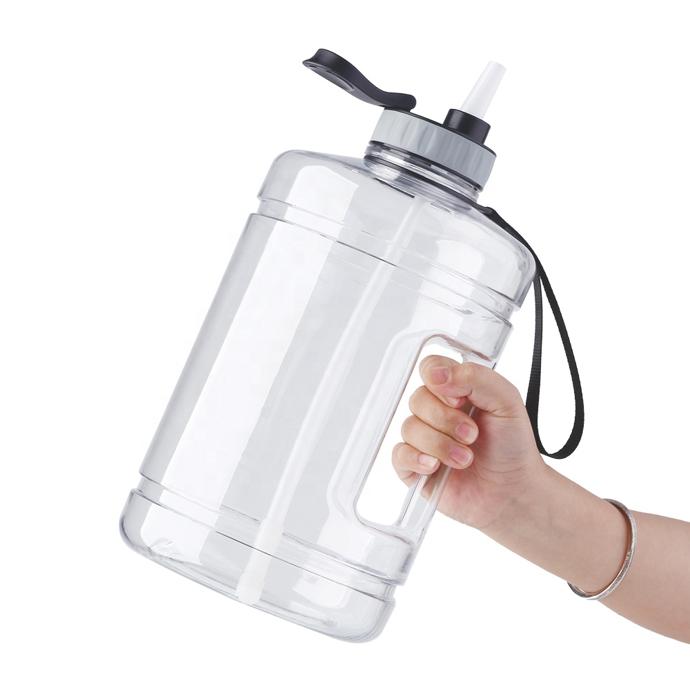 1 gallon 128 OZ wide mouth with straw BPA free gallon water bottle with motivational time marker